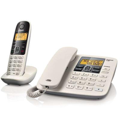 德國集怡嘉(Gigaset)原西門子電話機座機子母機A280數字無繩電話來電顯示中文免提家用辦公固定電話一拖一(白)