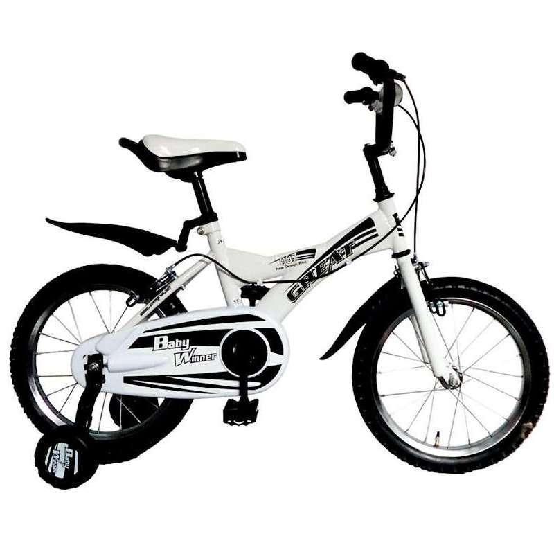 正润黑白经典儿童自行车16寸