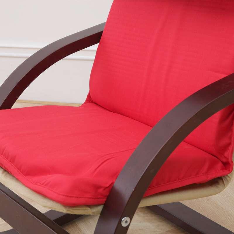 青岛一木家具 躺椅 特价儿童椅0015 宜家风实木布艺休闲椅子 红色坐垫