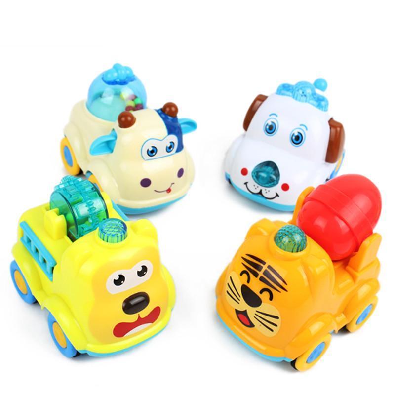创发儿童玩具车 惯性回力小车大号 宝宝可爱动物发条车 益智玩具顽皮