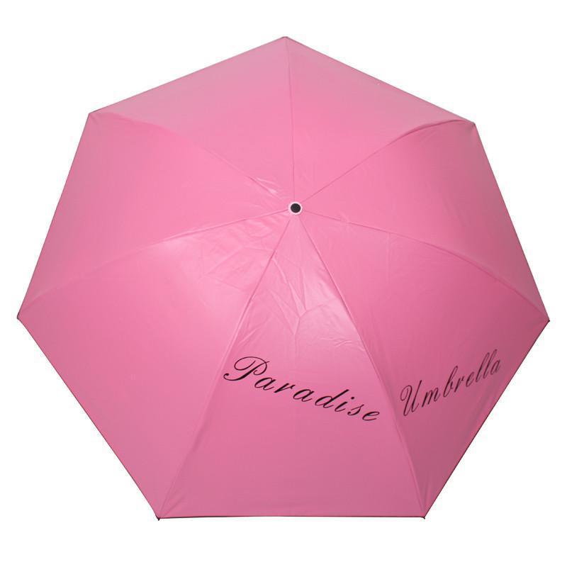 天堂伞 31020E成就梦想凝脂绸黑胶超强防晒三折铅笔晴雨伞 朱红