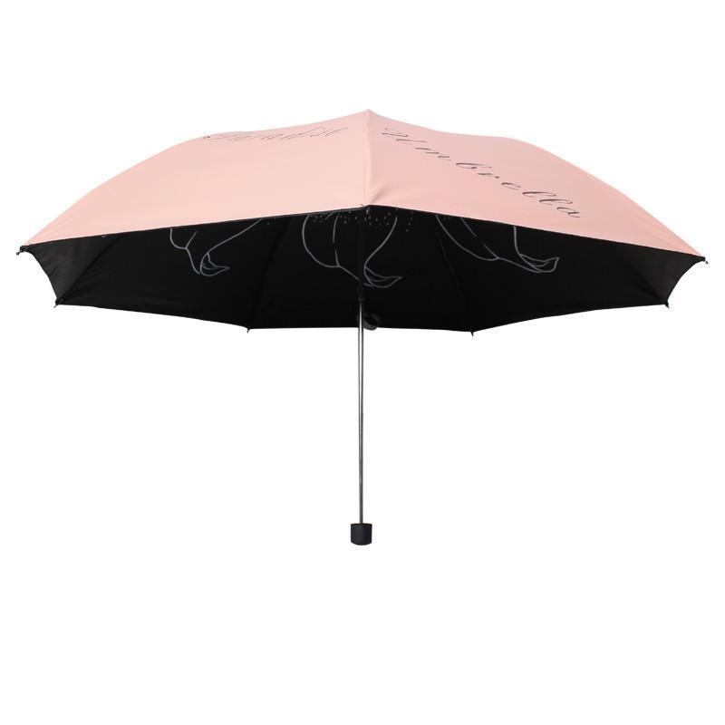 天堂伞 31020E成就梦想凝脂绸黑胶超强防晒三折铅笔晴雨伞 粉红