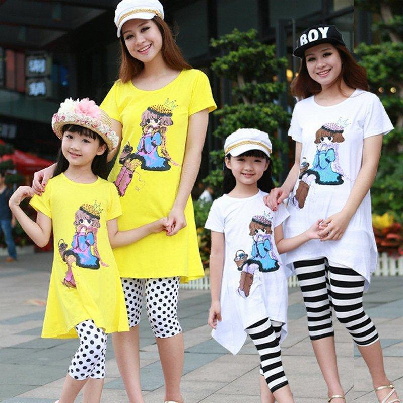 亲子装韩版一家三口全家套装 夏装新款卡通灰姑娘套装