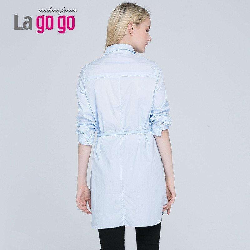 lagogo/拉谷谷秋季新款纯色长袖polo领衬衫连衣裙ecb935da08图片