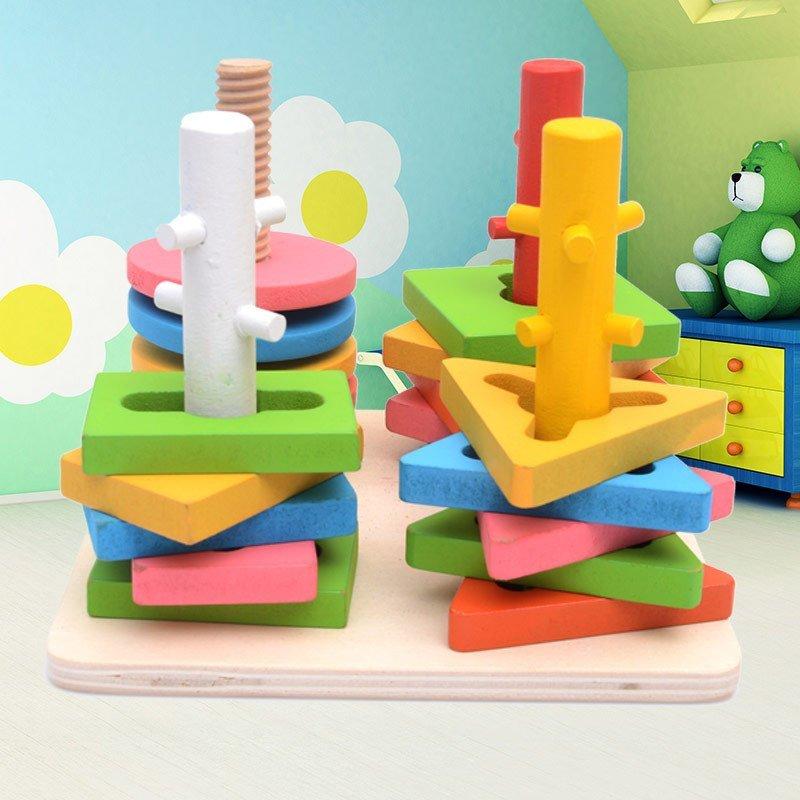 星塔 木制质四柱套配对积木 过关套住积木 几何形状儿童启蒙益智玩具1