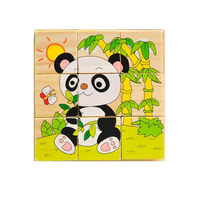 2-6岁立体六面画拼图 可爱动物拼图积木