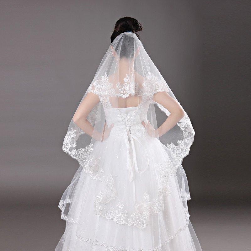 时光叙 新娘长头纱 韩式拖尾韩式蕾丝婚纱头纱 婚纱 新款头纱 白色1.