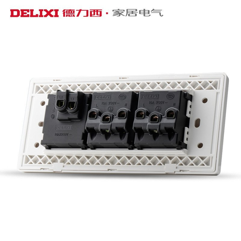 德力西118型开关插座墙壁开关面板一开六孔单开十孔电源