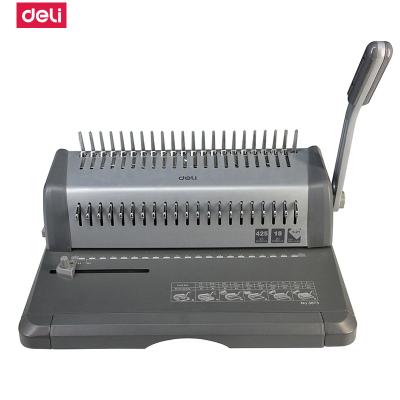得力deli3873手动装订装订机 多孔打孔机 合同标书梳式夹条胶圈装订 18张/次