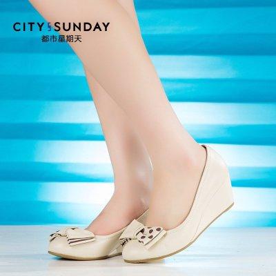 都市星期天品牌女鞋商場專柜同步春秋女鞋坡跟甜美圓頭舒適女單鞋 白色