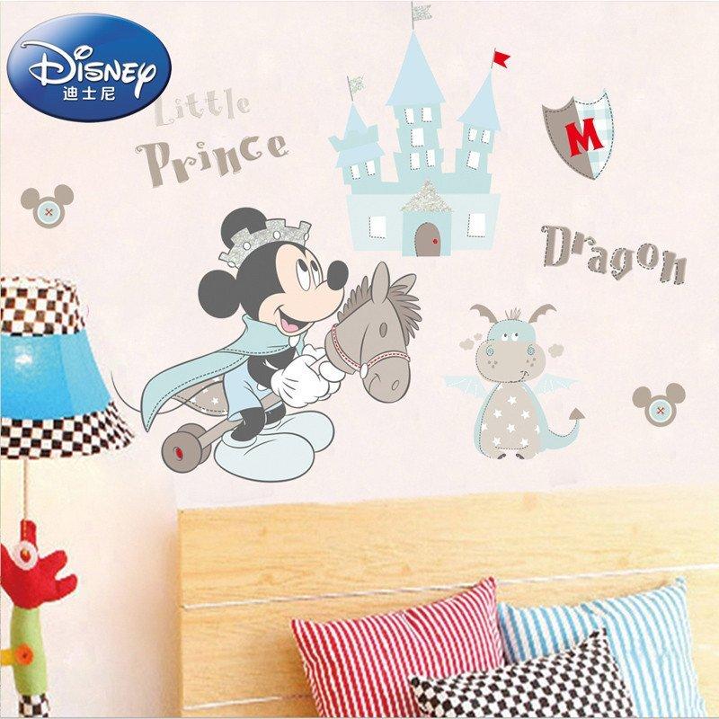 孩派 正品迪士尼卡通米奇贴纸 可爱儿童房背景装饰墙纸 米奇米妮