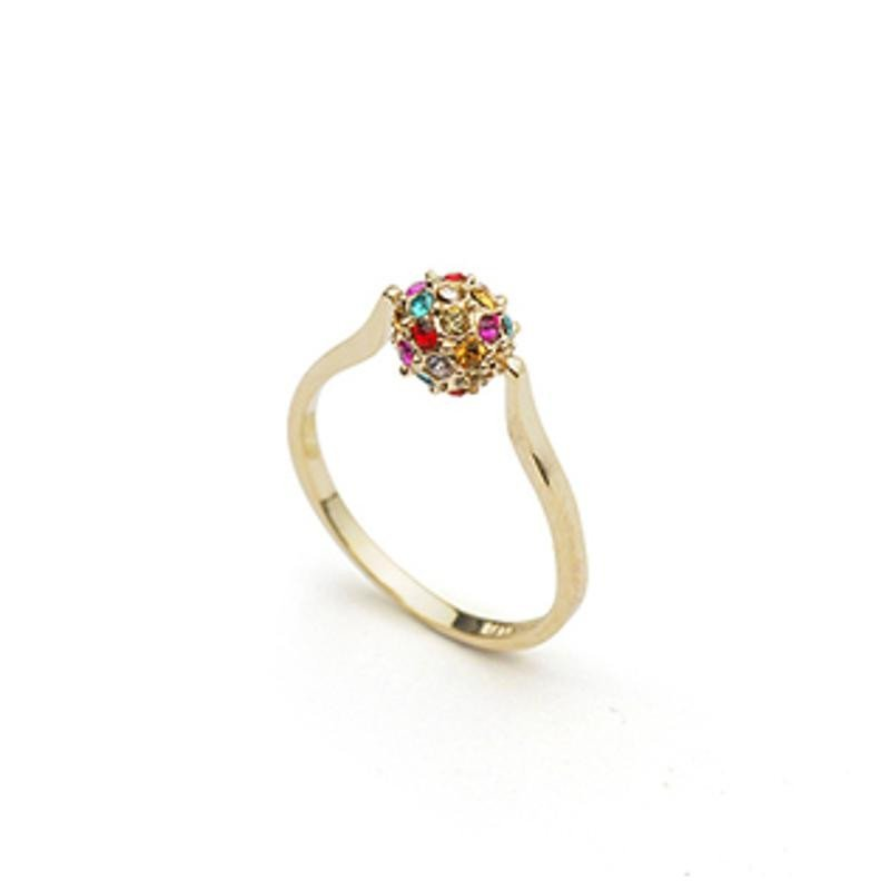 炫酷豆 镶钻转运珠幸运球水晶戒指环 外贸原单 金底彩色17.5mm