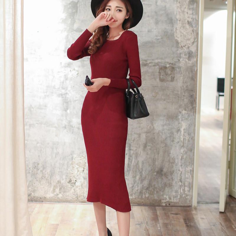 2016秋冬针织连衣裙女修身一步裙长袖包臀 均码 黑色