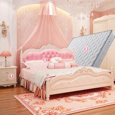 韩式公主床欧式床女孩粉色床田园婚床实木