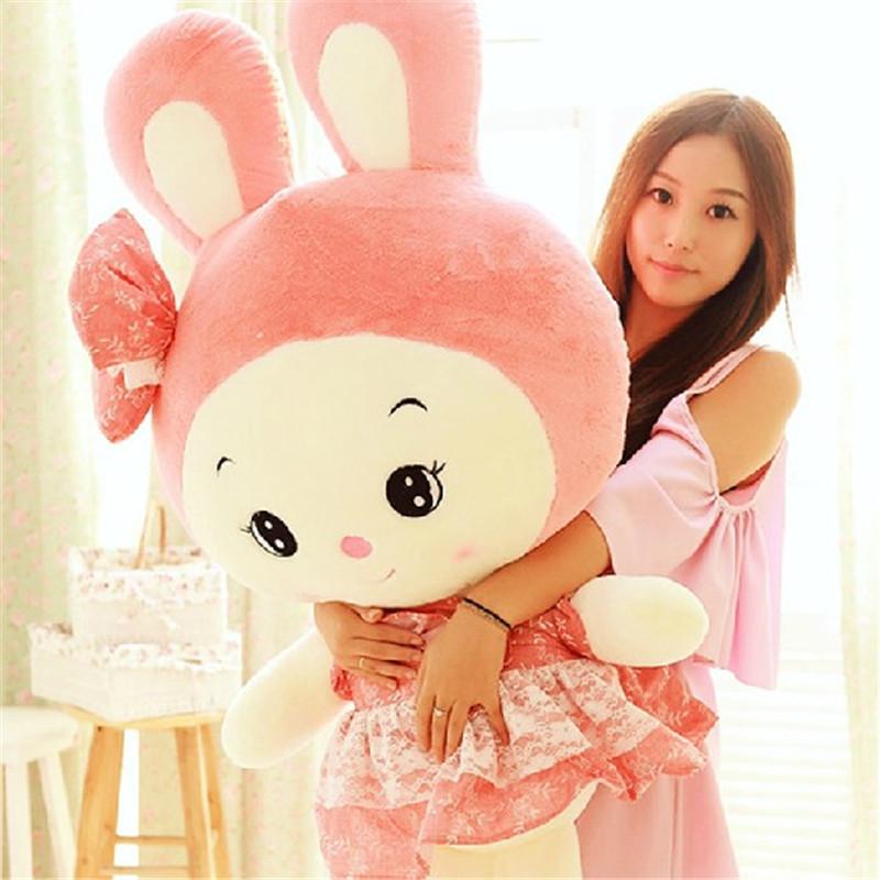 可爱公主兔毛绒玩具大号抱枕布娃娃兔子公仔玩偶生日礼物女 60cm 绿色