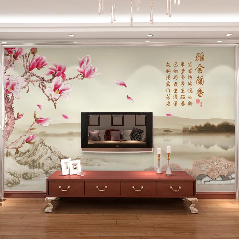 卡茵 中式時尚花卉客廳電視背景墻壁畫 影視墻無縫墻紙定制無紡布