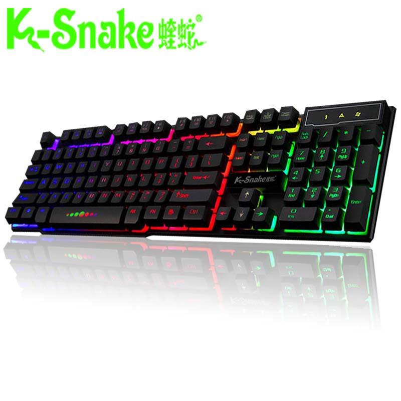 蝰蛇k4游戏背光发光机械手感键盘鼠标套装lol悬浮键鼠