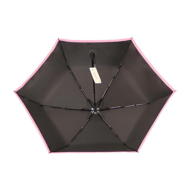 天堂伞(防晒UPF50+)碳纤黑丝靓胶色织三折铅笔晴雨伞遮阳伞 31016ELCJ 湖蓝边