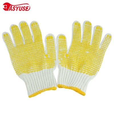 (5双)点胶防滑手套 劳保手套 全掌点胶耐磨防滑工作线手套作业防护白色手套 (单位:双)