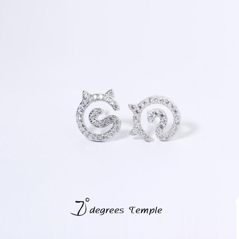 s925纯银猫咪耳钉女款可爱动物耳环流行简约明星同款耳饰夏 925纯银猫