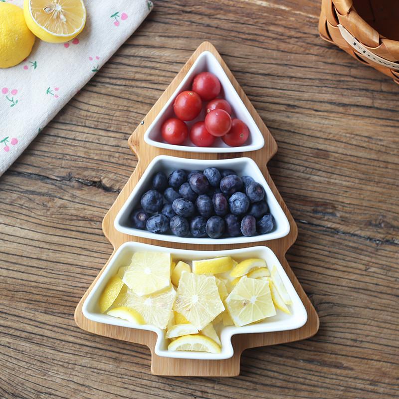陶瓷水果拼盘圣诞树造型组合多格拼盘创意干果瓜子零食碟托盘