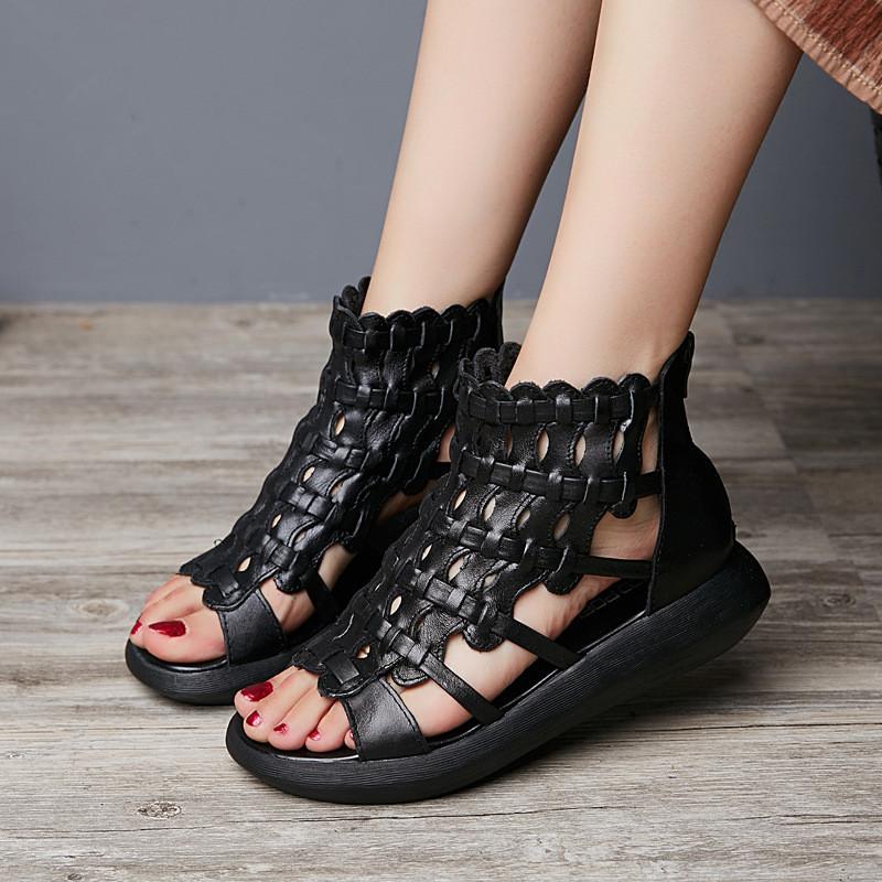 2017夏款凉鞋手工编织牛皮凉靴厚底女鞋平底松糕跟鞋1497083162116 黑