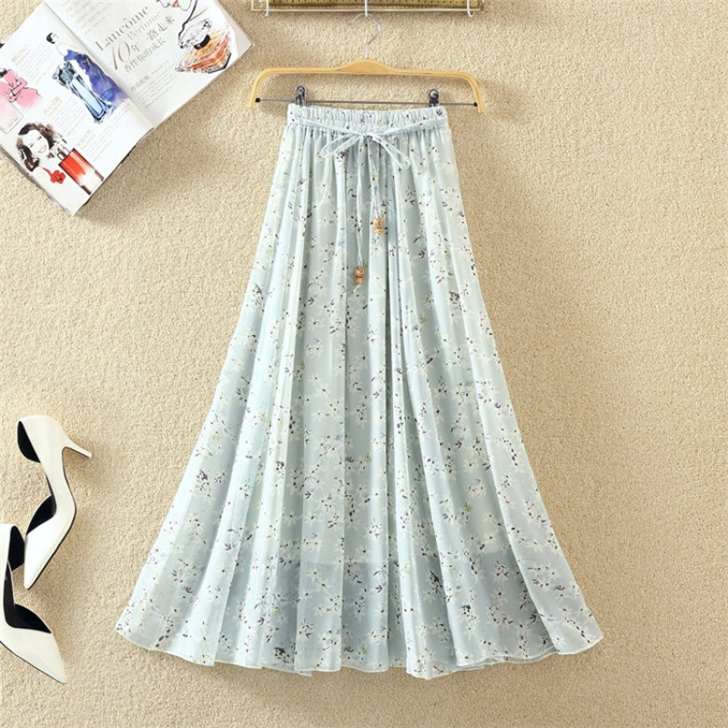 女装夏季裙子百褶裙a字裙半身裙 松紧腰(建议25-32码的mm) 蓝白小碎花