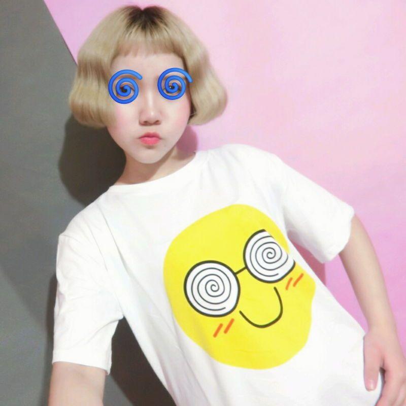 2017款】ulzzang韩国学院风情侣笑脸表情印花短袖t恤女学生上衣闺蜜装