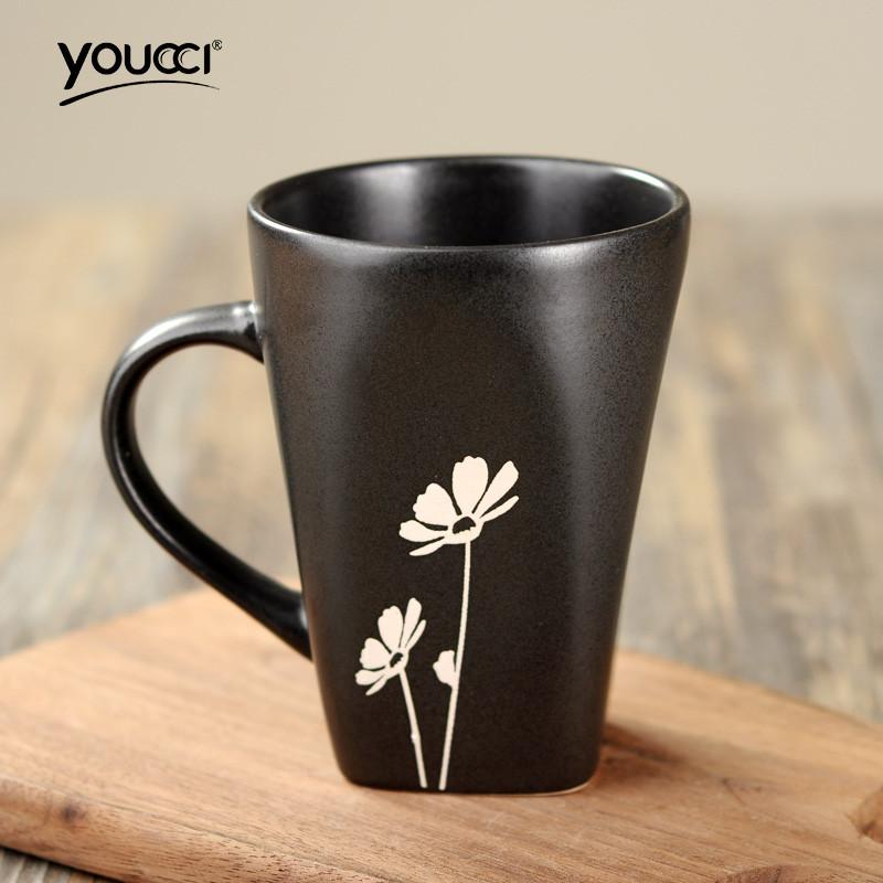 日式和风格调手绘花朵陶瓷杯子马克杯水杯咖啡杯茶杯勺 安士杯-小雏菊