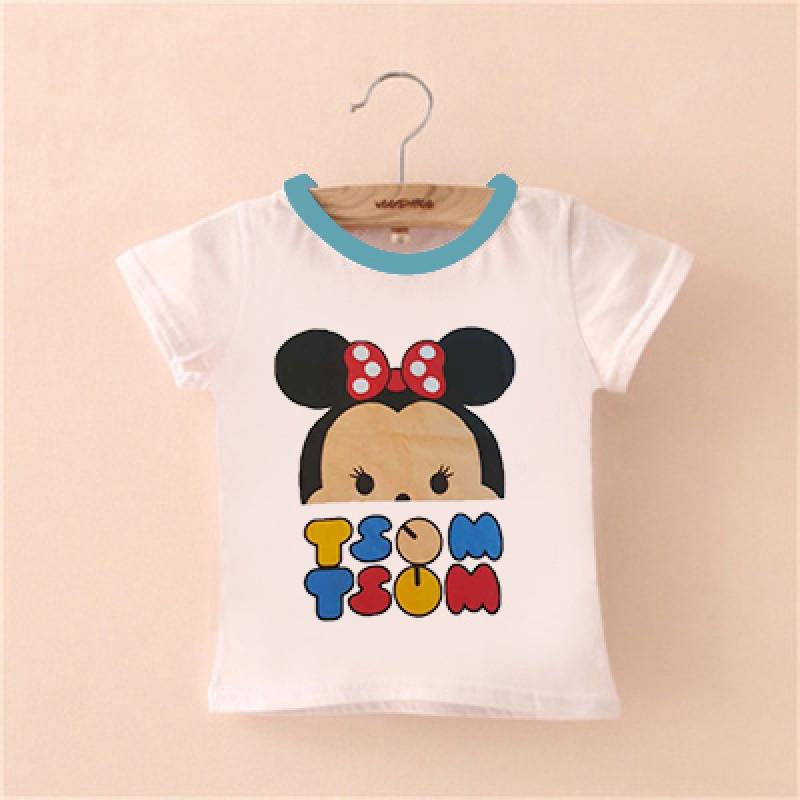 娉语童装夏季新款儿童短袖t恤 男童女童可爱韩版卡通t恤 120cm 蓝领