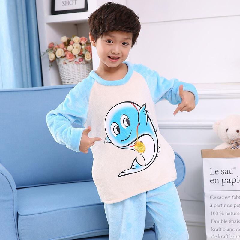 冬季新款 可爱图案法兰绒儿童睡衣 男童女童保暖家居服套装 14码 浅蓝