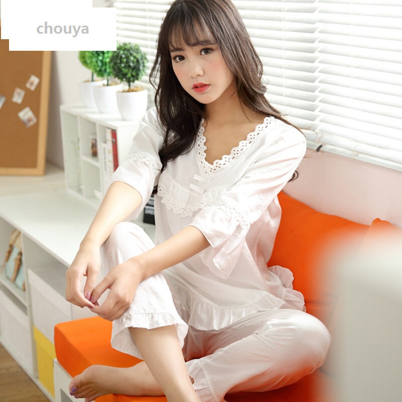 绰娅棉麻睡衣女夏装短袖韩版甜美清新可爱休闲家居服夏天纯棉睡衣套装