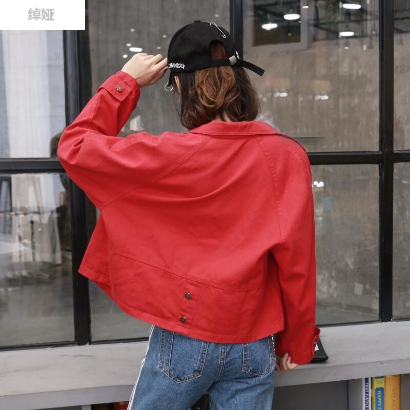 绰娅原宿学院风韩版女装夏秋装新款纯色翻领宽松长袖短外套 s 红色