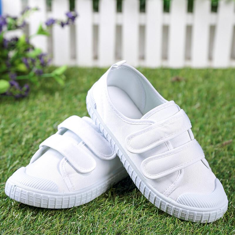 幼儿园小白鞋童鞋儿童白布鞋女童男童宝宝鞋学生白球鞋白色帆布鞋f