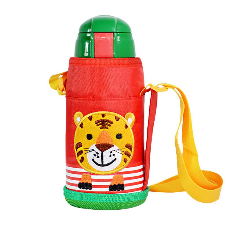 儿童保温杯带吸管两用宝宝防摔水壶幼儿园学生不锈钢女水杯 蓝色鹿带
