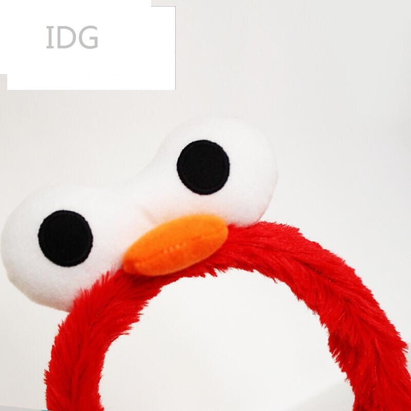 idg珞图韩国正品发饰韩版宽边可爱小鸭子发箍大眼睛头饰毛绒头箍 红色