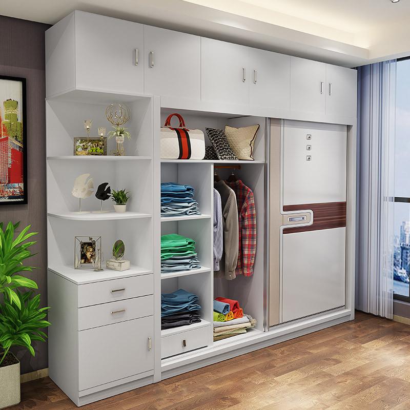 简约现代整体衣柜推拉门敞开式转角两门衣柜组合实木质板式大衣柜 1.图片