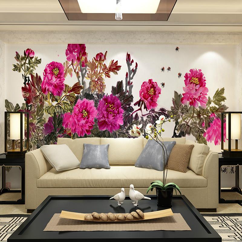 手绘墙布国画牡丹客厅壁画花开富贵电视背景墙壁纸定制影视墙墙纸