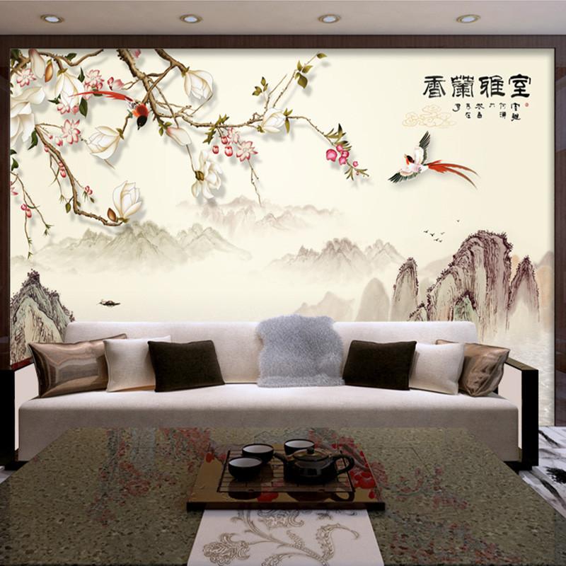 室雅兰香书房壁画中式山水电视背景墙壁纸办公室墙纸影视墙墙布 本