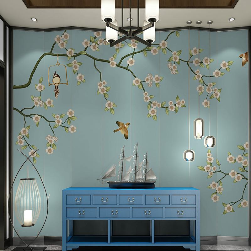 中式电视背景墙壁画花鸟沙发背景墙壁纸定制影视墙墙纸手绘墙布 瑞士