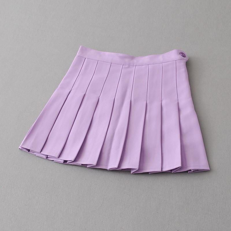 欧美夏季百褶裙半身裙高腰网球学院风夏白色短裙女裙裤a字裙_2 l