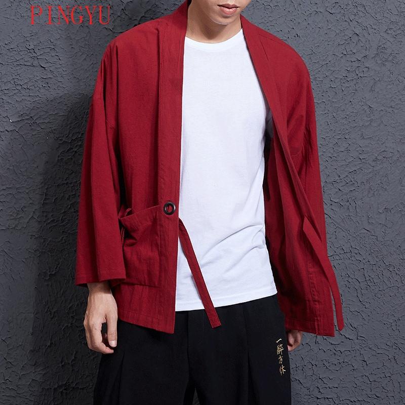 娉语中国风男装薄款仙鹤刺绣开衫唐装外套七分袖和风和服汉服宽松夏季