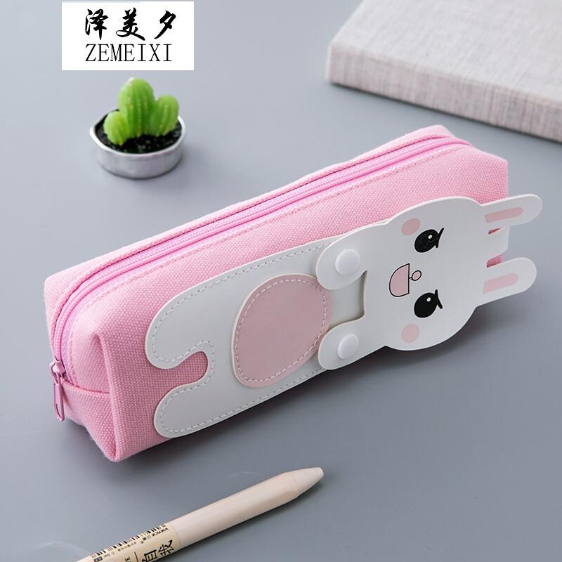 韩国可爱小清新笔袋创意简约初中学生新铅笔盒女生大容量文具用品q*_8