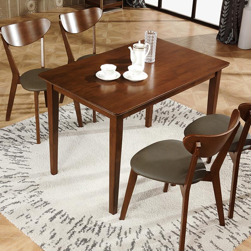 林通 北欧现代简约田园式实木餐桌 小户型餐桌全橡胶木4人餐桌椅组合图片