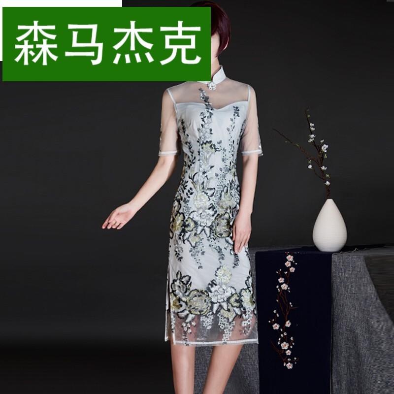 森马杰克2017新款秋季改良旗袍长袖女日常修身显瘦长款优雅刺绣连衣裙图片