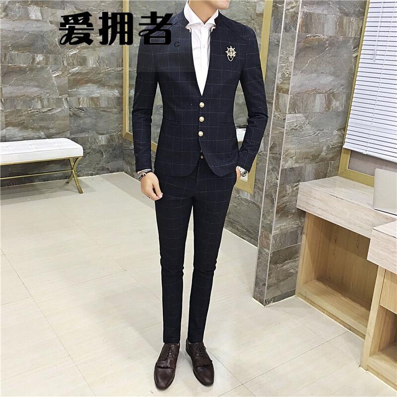 爱拥者韩版修身男士格子西服套装发型师休闲立领小男