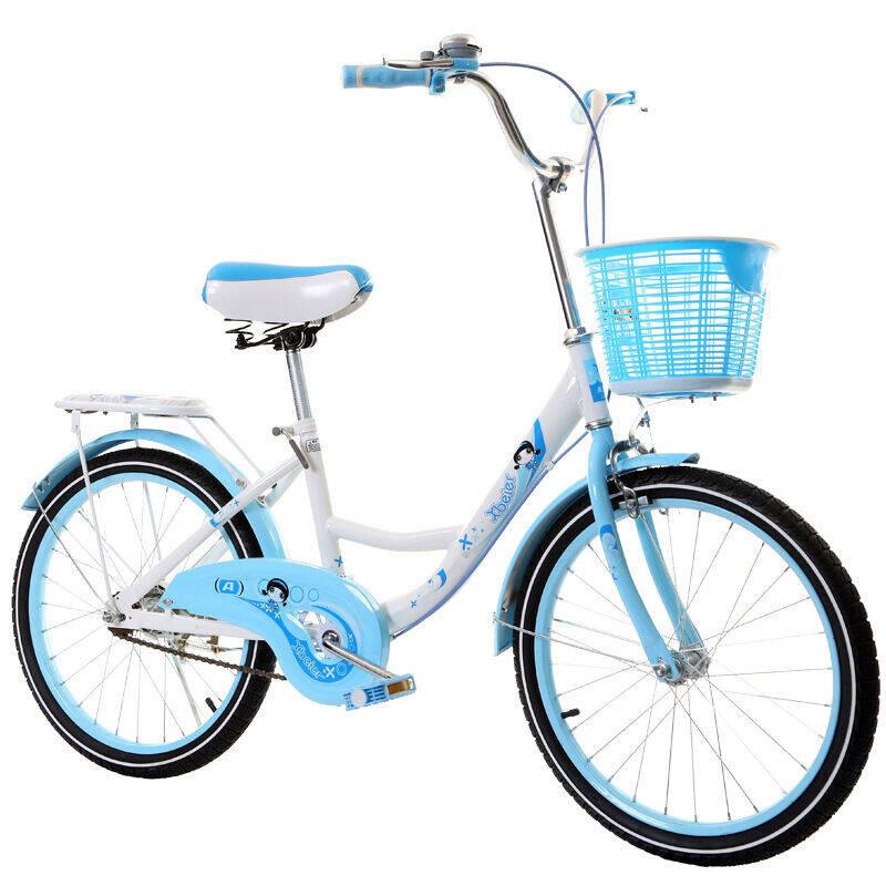 18寸20寸22寸淑女车男女款学生车单车儿童自行车女款公 20蓝色带坐垫