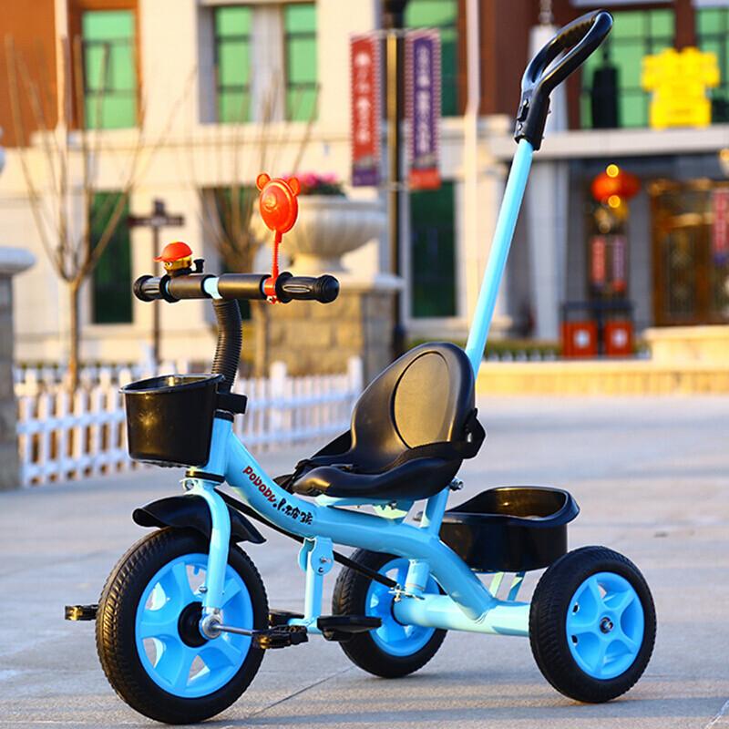 智扣儿童三轮车宝宝脚踏车手推车自行车_3 发泡轮蓝+推把+双脚踏