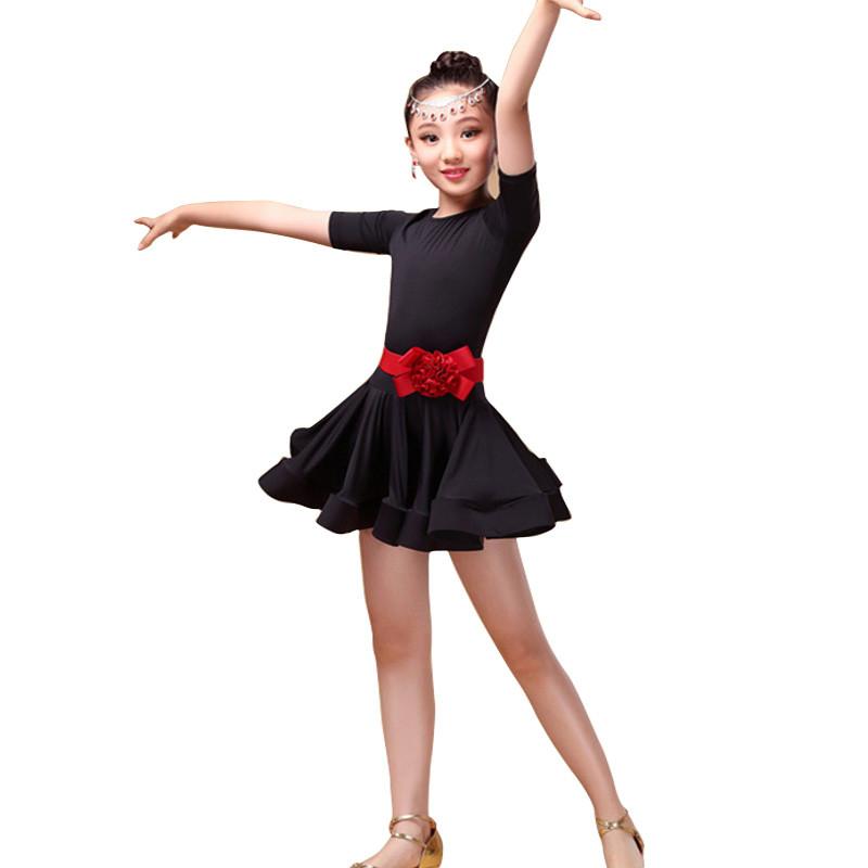 童拉丁舞裙女冬_儿童拉丁舞裙练功服中大童比赛演出服女童少儿拉丁舞服装女孩舞蹈 140