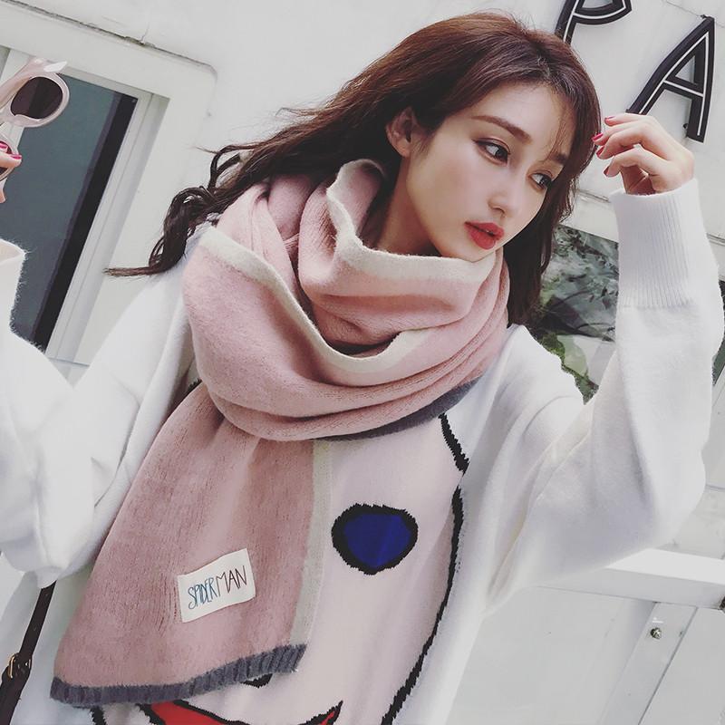 学生围巾女韩版百搭冬季甜美可爱女生原宿风毛线针织复古保暖围脖 贴